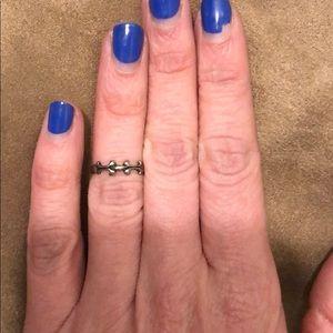 Silver tone midi fashion ring